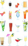 Set of different types of alcohol coctails and other drinks Stock Image