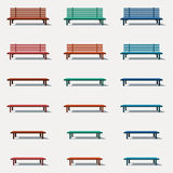 Set of different types benches. Set of different types of benches in vector Royalty Free Stock Image