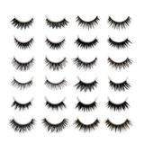 A set of 10 different types of black long dramatic false eyelash royalty free stock photo