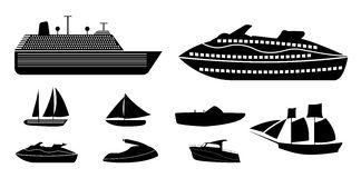 Set of different types of boats for recreation and fishing on ri Royalty Free Stock Images