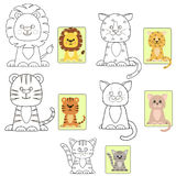 A set of different types of cats in the form of a coloring. stock illustration