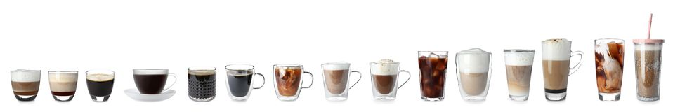 Set with different types of coffee drinks. On white background stock photos