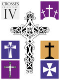 Set of different types of crosses on purple background Royalty Free Stock Photography
