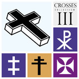 Set of different types of crosses on purple background Stock Image