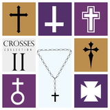 Set of different types of crosses on purple background Stock Photography