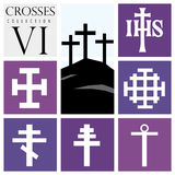 Set of different types of crosses on purple background Royalty Free Stock Photos