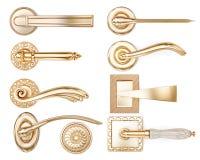 Set of different types of door handles. 3d rendering Stock Photo