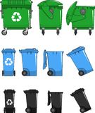 Set of different types dumpsters isolated on white background in flat style Royalty Free Stock Photos