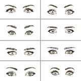 Set of different types of eyes. Royalty Free Stock Photography