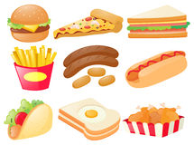 Set of different types of fastfood Royalty Free Stock Image