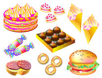 Set of different types of food and sweets on white background. Royalty Free Stock Photos