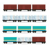 Set of Different Types of Freight Wagon Stock Photography