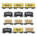 Set of Different Types of Freight Wagon Royalty Free Stock Photo