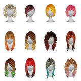 Set of different types and hair colors stock image