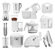 Set of different types of kitchen appliances. Devices equipment blender grinder mill multi cooker crock-pot multivarka disassembled mincer hasher chopper Stock Images