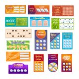 Set of different lottery tickets for drawing money and prizes. Set of different types of lottery tickets for drawing money, prizes. Tickets for event, financial Royalty Free Stock Photos