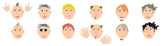 Set of 12 different types of male faces, hairs, beards and emotions stock image