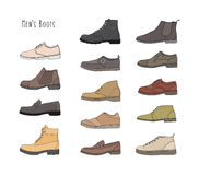 Set with different types men boots. Royalty Free Stock Photo