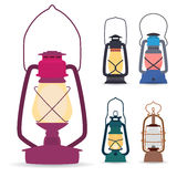 Set of different types of oil lamps in a flat style . Stock Images