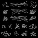 A set of different types of pasta in black and white hand-drawing lines. Vector illustration royalty free illustration