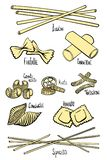 A set of different types of pasta in colored hand-drawing lines. Vector illustration stock illustration