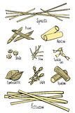 A set of different types of pasta in colored hand-drawing lines royalty free illustration
