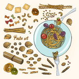Set of different types pasta. Colorful hand drawn collection spaghetti, Stock Images