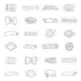 Set of different types of pasta Royalty Free Stock Images