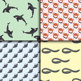 Set of different types of sea animals illustration tropical character wildlife marine aquatic fish Royalty Free Stock Photos