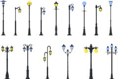 Set of different types of street lamps. Detailed illustration colored street lamps  in flat style on white background Stock Images