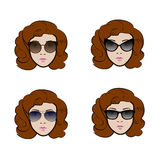 Set of different types of sunglasses presenting by cute woman vector illustration