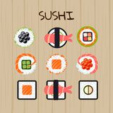 Set of different types of sushi. Vector illustration. royalty free illustration