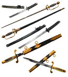 Set with different types of swords Royalty Free Stock Photography