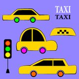 Set of different types taxi cars and signs. Stock Photos