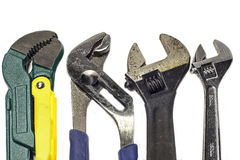 types of wrenches. set of different types used wrenches stock images e