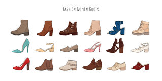 Set with different types of winter and demi women s boots. Collection of hand drawn trendy fashion colorful shoes. Set with different types of winter and demi Stock Images