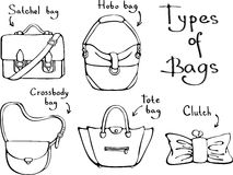 Set of different types of woman bags - Vector illustration Stock Images