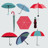 Set of different umbrellas Stock Images