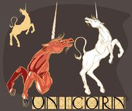 Set of different unicorns. Beautiful mythical horse with horn Stock Photo