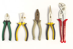 Set of different used pliers Stock Photo