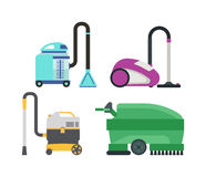 Set of different vacuum cleaners . Stock Photography