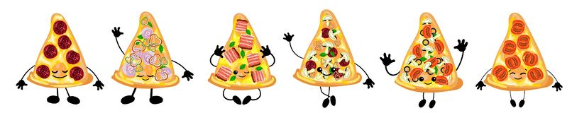 A set of different varieties of Italian pizza is a cute character with a face. For your company, pizzeria, restaurant logo for. Decorating the menu and cards vector illustration