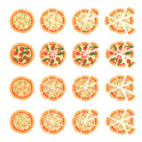Set with different varieties of pizza. Cut slices. Margherita, bacon, onion, tomatoes. Top view. Vector illustration Stock Images