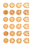 Set with different varieties of pizza. Cut slices. Margherita, shrimp, bacon, onion, tomatoes. Top view. Vector illustration Royalty Free Stock Image