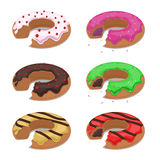Set of different vector bitten donuts Stock Photo