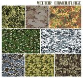 Set of different vector camouflages. Eight different vector camouflages. forest and urban. with a minimum number of layers royalty free illustration