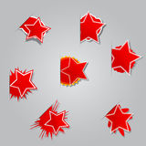 Set of different labels star. Royalty Free Stock Photos