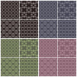 Set of different vector seamless patterns in four color schemes. Royalty Free Stock Photography