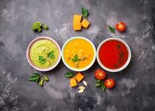 Set of different vegetable cream soups Stock Photo