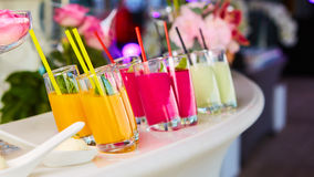 Set of different vegetable juices on the bar. Stock Photos